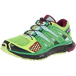 Salomon Women's XR Mission Trail Running Shoe, Firefly Green/Black/Mystic Purple, 9 M US