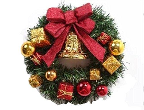 メリー クリスマス  リース 35cm X'mas 飾り 付け デコレーション 装飾 玄関 ドア 輪 緑 贈り物 造花 ギフト 金 鈴 ベル ゴールド 赤 リボン 年末 冬 イベント 美しい 外観 デザイン かわいい