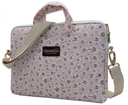 Canvaslove-Pink-Chrysanthemum-Patten-Canvas-Laptop-Shoulder-Messenger-Bag-Case-Sleeve-for-14-Inch-15-Inch-Laptop-Macbook-Pro-15-Case-Laptop-Briefcase-156-Inch