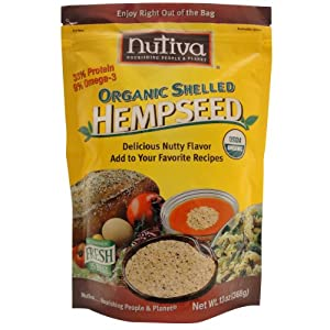 Nutiva Organic Shelled Hemp Seed, 13-Ounce Pouches (Pack of 2)