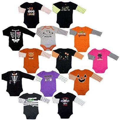 Assorted-Witch-Pumpkin-Cat-Baby-Boys-Girls-Halloween-Bodysuit-Dress-Up-Outfit