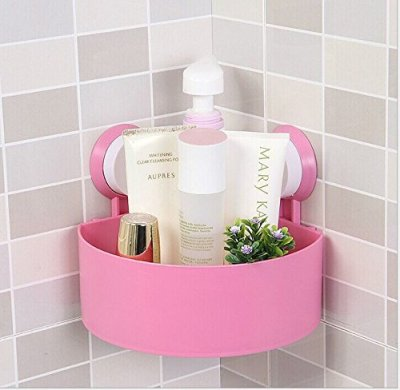 Rainbow Love Strong Sucker Tripod Triangle Bathroom Corner Shelving Shelf Storage Racks for Bathroom Toilet Kitchen Pink