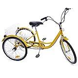 """Iglobalbuy Yellow 24"""" 6-Speed 3 Wheel Adult Bicycle Tricycle Trike Cruise Bike"""