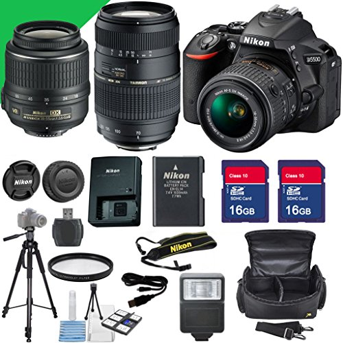 Nikon D5500 Dslr Camera with Nikon 18-55mm Vr Lens, Two 16gb Sd Memory Cards, Nikon 55-200mm Vr Lens, Flash for Camera, Full Size Tripod, Sd Card Reader for USB Plug,