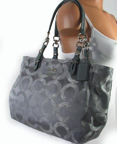 e80d4b7a8d9 Coach Signature Mia Lurex Book Shopper Bag Tote 15746 Silver   Baby ...