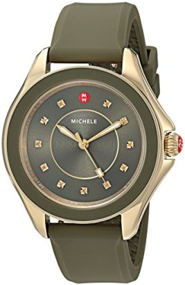MICHELE-Womens-Quartz-Stainless-Steel-and-Silicone-Casual-Watch-ColorGreen-Model-MWW27A000019