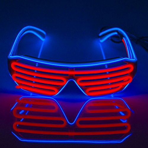 Fronnor EL Glasses El Wire Fashion Neon LED Light Up Shutter Shaped Glow Sun Glasses Rave Costume Party DJ Bright SunGlasses(Blue Frame+Pink)