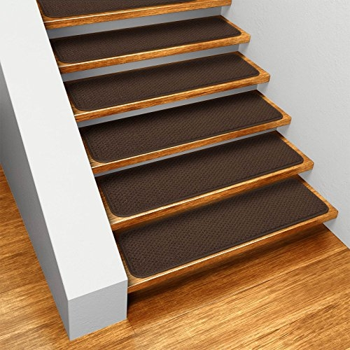 Set Of 12 Skid Resistant Carpet Stair Treads Chocolate Brown 8 | Best Carpet Stair Treads | Rug | Mat | Treads Lowes | Bullnose Stair | Wood Stairs