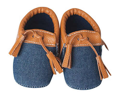 Tasseled Baby Moccasins with Soft Soles, Lightweight Shoes for Infants, Made From Vegan Leather Material -Denim & Tan- (6-9 M 4 1/8 IN), By Lilac & Lavender
