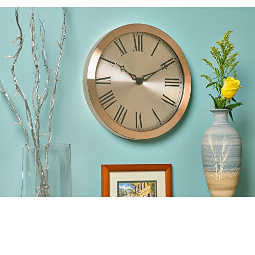 Large Wall Clock 14 Inch Elegant Luxurious Rose Gold Copper with