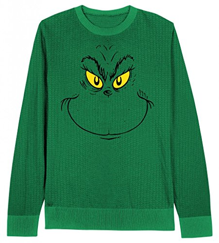 Dr. Seuss Men's Grinch Face Ugly Christmas Sweater, Kelly Green, X-Large