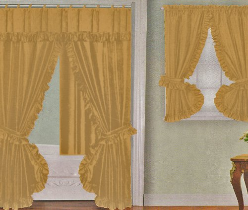 bathroom window curtains yellow gold fabric double swag shower curtain with matching window curtain and vinyl liner