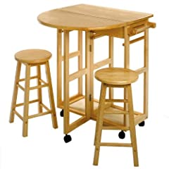 Space Saver, Drop Leaf Table with 2 Round Stools Space Saver, Drop Leaf Table with 2 Round Stools