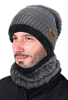 ddc4bb8df14 Livres Couvertures de VBIGER 2Pcs Chapeau Chaud Tricot Tour de Cou avec Doublure  Polaire pour Homme