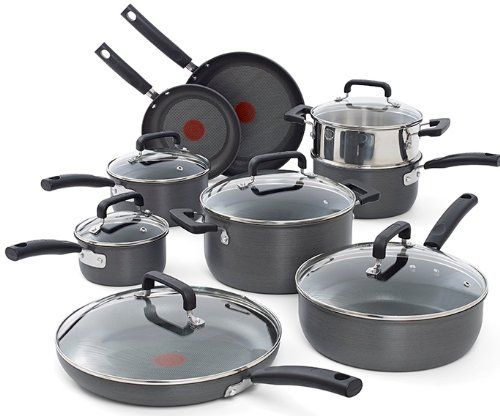 T-fal C770SF63 Signature Hard Anodized Oven Safe Durable Nonstick Thermo-Spot Heat Indicator Cookware Set, 15-Piece, Gray