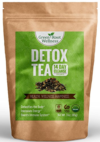 Organic Detox Tea - 14 Day Cleanse - Healthy Weight Loss Alternative + Natural Body Cleanse + Reduces Bloating - Fresh Green Tea & Herbal Ingredients - Green Root Wellness