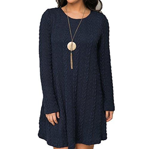 ASCHOEN Damen A-Line Kleid Strickkleider Langarm Sweater Tops Modern Jerseykleid