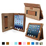 Snugg iPad 4 & iPad 3 Case - Leather Case Cover and Flip Stand with Elastic Hand Strap and Premium Nubuck Fibre Interior ('Distressed' Brown) - Automatically Wakes and Puts the iPad 4 & 3 to Sleep. Superior Quality Design as Featured in GQ Magazine