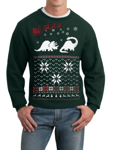 Skip N' Whistle Adult Ugly Christmas Sweater Santa Dinosaur Pullover Sweatshirt Large Forest Green