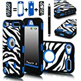 E-LV Deluxe Zebra Print Hard Soft High Impact Hybrid Armor Defender Case Combo for Apple iPod Touch 5 5th Generation with 1 Free Front and Back Screen Protector, 1 Black Stylus and E-LV Microfiber Sticker Digital Cleaner (Retail Packaging) (Blue)
