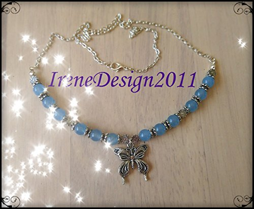 Silver Necklace with Aquamarine & Butterfly