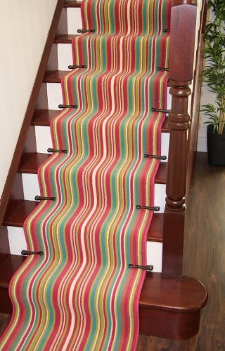 Carpets Lima 459 Pink Lime Green Teal Multi Colour Bright | Multi Coloured Stair Carpet | American Style | Candy Stripe | Interior Design | Textured | Residence