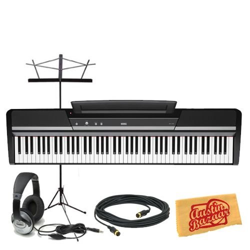 Korg SP170s 88-Key Digital Piano Bundle with Music Stand, 10-Foot MIDI Cable, Headphones, and Polishing Cloth - Black