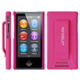 MiniSuit JAZZ Slim Shell Case with Belt Clip + Screen Protector for iPod Nano 7 (Rubberized Pink)
