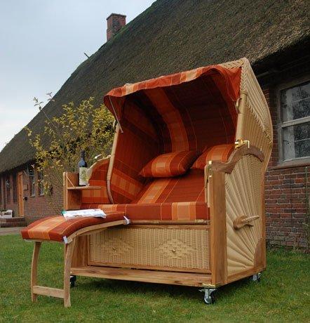 Luxus Strandkorb Hamburg Polyrattan Vollrohr Geflecht Teak Holz
