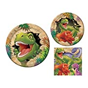 Dinosaur Dino Blast 16 Guest Party Supply Bundle (3 Items) - Dinner Plates Dessert Plates & Napkins