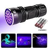 Lighting EVER LED UV懐中電灯 ブラックライト ミニサイズ 携帯用 UVハンドライト 21粒LED ジェル用ネイル用 紫外線ランプ
