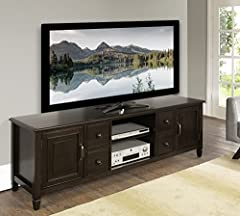 Simpli Home Connaught TV Media Stand up to 80 Inch, Dark Chestnut Brown