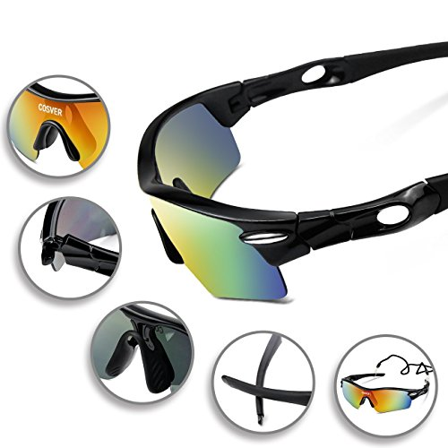 2be70002a4 COSVER Fashion Polarized Sports Sunglasses with 5 Lenses for Men Women  Driving Cycling ...