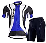 Sponeed Men's Bicycle Jersey Polyester and Lycra Road Biking Size L US Blue