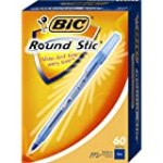 BIC Round Stic Ball Pen, Medium Point (1.0 mm), Blue, 60 Pens for $4.69 + Shipping