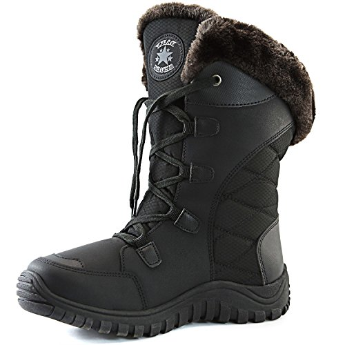 DailyShoes Women's Comfort Round Toe Mid Calf Hiking Outdoor Ankle High Eskimo Winter Fur Snow Boots, 7