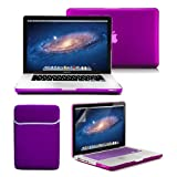 Macbook Pro 13 Case, GMYLE 4 in 1 Deep Purple Frosted Hard Case - Sleeve Bag and Keyboard Cover - Clear Screen Protector - (not fit for 13 Macbook Pro with Retina display)