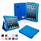 Snugg iPad 4 & iPad 3 Case - PU Leather Case Cover and Flip Stand with Elastic Hand Strap and Premium Nubuck Fibre Interior (Electric Blue) - Automatically Wakes and Puts the iPad 4 & 3 to Sleep. Superior Quality Design as Featured in GQ Magazine
