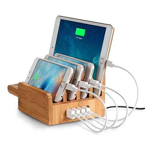 EReach 竹製 充電ステーション、チャージャースタンド 5ポートUSB同時多功能充電スタンド スマホ タブレット Apple Watch対応