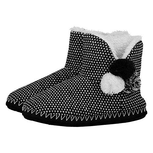 Hunkemller-Damen-Hausschuhe-Knit-Pompom-114250