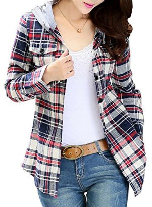 Asher-Women-Classic-Long-Sleeves-Cotton-Hoodie-Button-up-Plaid-Shirts-US-LTag-XXL-Gray