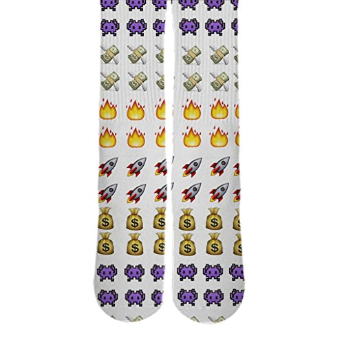 Dopesox Mens Emoji Rocket Ship Icon New Style Elite Socks One Size (6-12) White