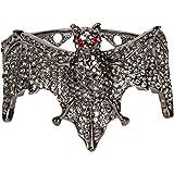 Dark Grey Finish Crystals on Halloween Bat Cuff Bracelet BIG Bad Glitz