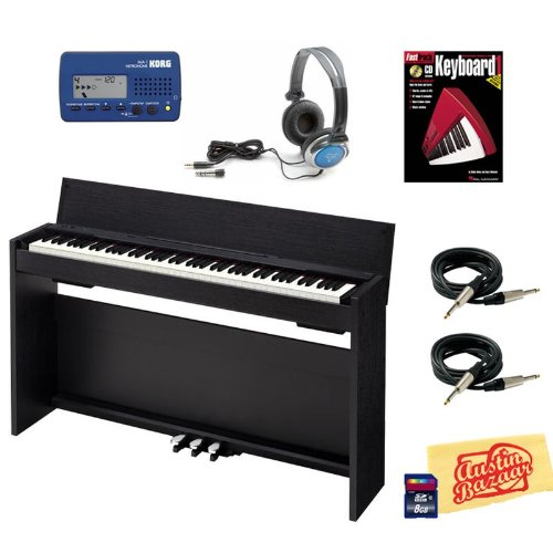 Casio Privia PX-830 Digital Piano Bundle with Metronome, 8GB SD Card, Essential Cables Pack, Headphones, Instructional Book, and Polishing Cloth - Black