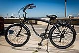 "JBikes Hawk Aluminum 7-Speed, Matte Black - Men's 26"" Beach Cruiser Bicycle with Alloy Rear Rack, (Better than Firmstrong Micargi)"