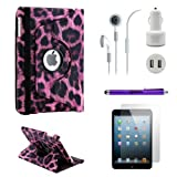 Gearonic iPad Mini 5-in-1 Accessories Bundle Purple Leopard Rotating Case Business Travel Combo