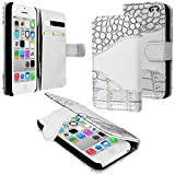 myLife Bright White and Silver Shimmer {Crocodile Design} Faux Leather (Card, Cash and ID Holder + Magnetic Closing + Hand Strap) Slim Wallet for the iPhone 5C Smartphone by Apple (External Textured Synthetic Leather with Magnetic Clip + Internal Secure Snap In Hard Rubberized Bumper Holder)