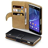 Sony Xperia Z2 Premium PU Leather Wallet Case by Terrapin - (Black/Tan) 国内正規品