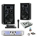 600W PA SET Boxen Endstufe Mixer Funkmikrofon DJ-578