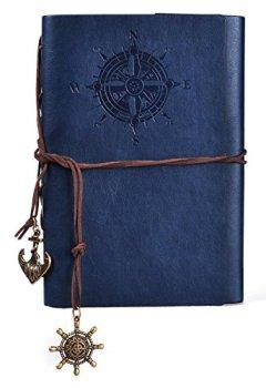 Livres Couvertures de Gearmax® Magie Rétro Navigation Voyage Bloc-notes Carnet Agenda Calepin Journal Cuir Cover(Bleu foncé)